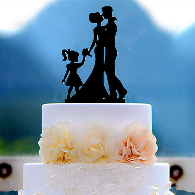 Family Bride Groom Child Girl Daughter Silhouette Wedding Cake Topper Decoration With Free Shipping