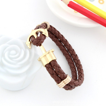 Bracelet Homme Ancre Cuir
