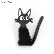 Patchfan Kikis delivery service black cat Metal Enamel pins medal para backpack shirt clothes brooches badges men women A1691