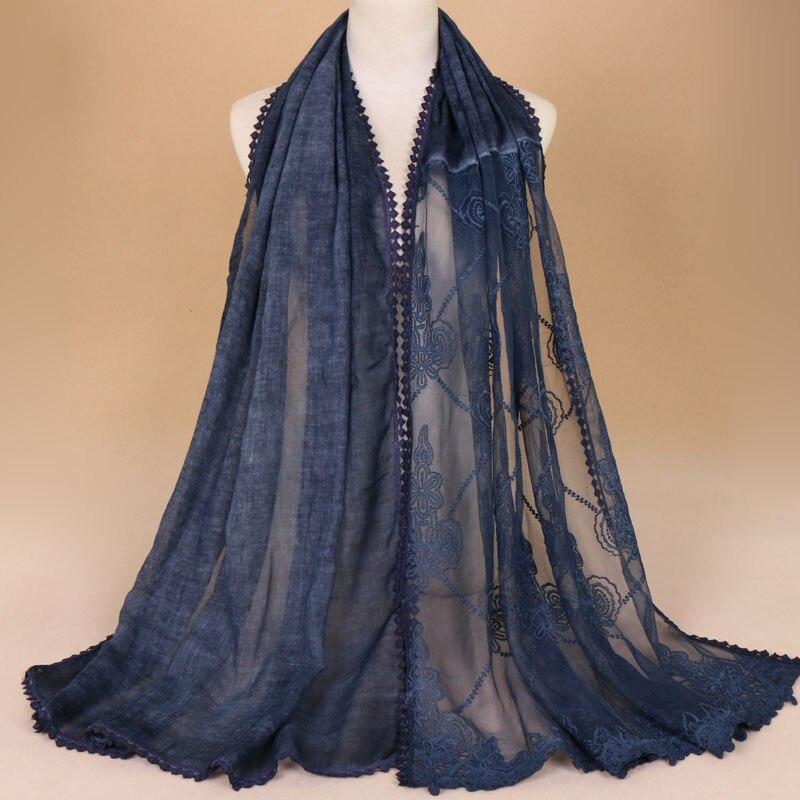 Laven Women floral lace scarves bandhnu cotton scarf muslim hijab wraps headband long shawls/scarf 8 color 180*75cm 10pcs/lot