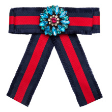 2019 New Fashion Wide Red Blue Cloth Bowknot Brooches for Women Clip Up Pins Crystal Gems Collar Charm Party Jewelry