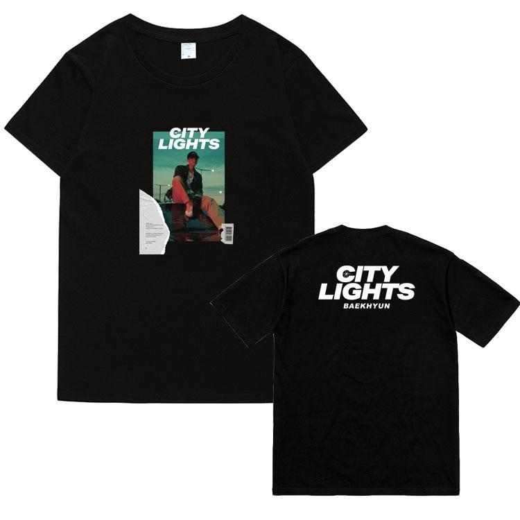 Kpop exo baekyun album city lights same photo printing t shirt for summer unisex fashion o neck short sleeve t-shirt(China)