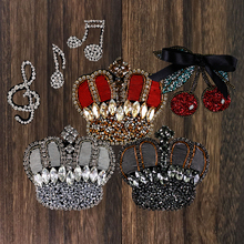 1pc Bead Cherry Crown Rhinestone Music Note Applique Patches Sew on DIY Shoes Bag Hat Accessories Badge Craft TH1317