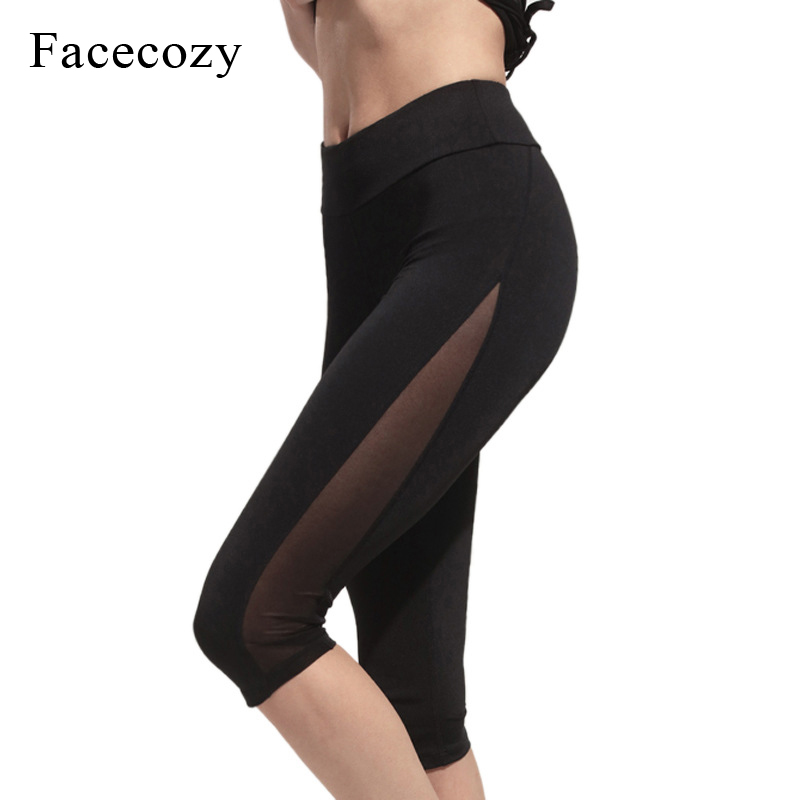 Facecozy New Women Sports Yoga Short Pants Patchwork Elastic Running Pants Leggings for Workout Jogging Training Trousers