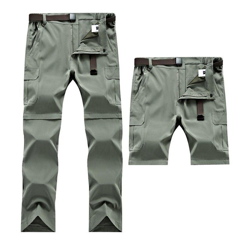 Detachable Waterproof Hiking Pants Mens Quick Dry Shorts Cargo Softshell Pants Plus Size Trekking Camping Trousers Fishing Pants
