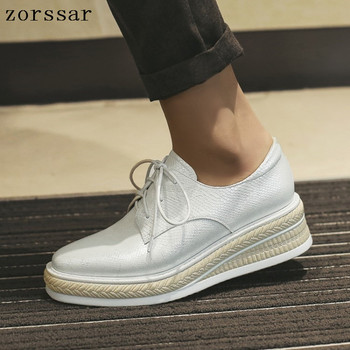 2019 Women Flats Genuine leather Shoes Woman Lace-up Thick bottom sneakers Women Flat Platform Shoes casual creepers moccasins