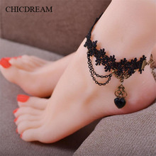 CHICDREAM Gothic Retro Black Lace Anklet jewelry black Heart Crystal Feet Chain Tassel Pendant for Sexy Women Exquisite Gift