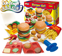 Kids Gift font b Play b font font b Dough b font Mold Set Happy BURGER