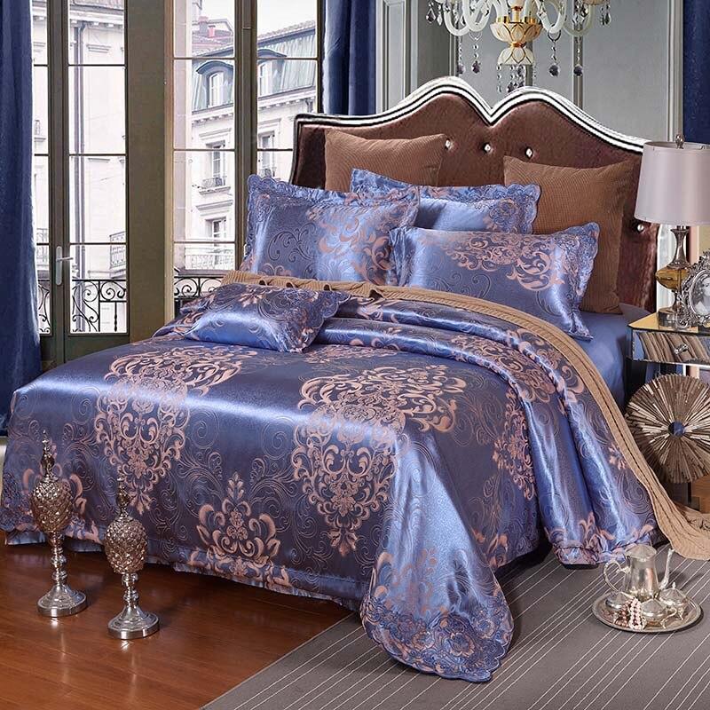 2016 Luxury cotton Embroidery Tencel Satin Silk luxury jacquard bedding set pink gold purple duvet cover bedsheet/bedspread