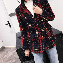 HAGEOFLY New Tweed Plaid Blazer Women's jacket Line Red Plaid Weave Double-Breas