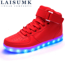 bd694a091 LAISUMK Wholesale Led Men Shoes Luminous Neon Basket Casual Homme Shoes  High Glowing With Usb Charge