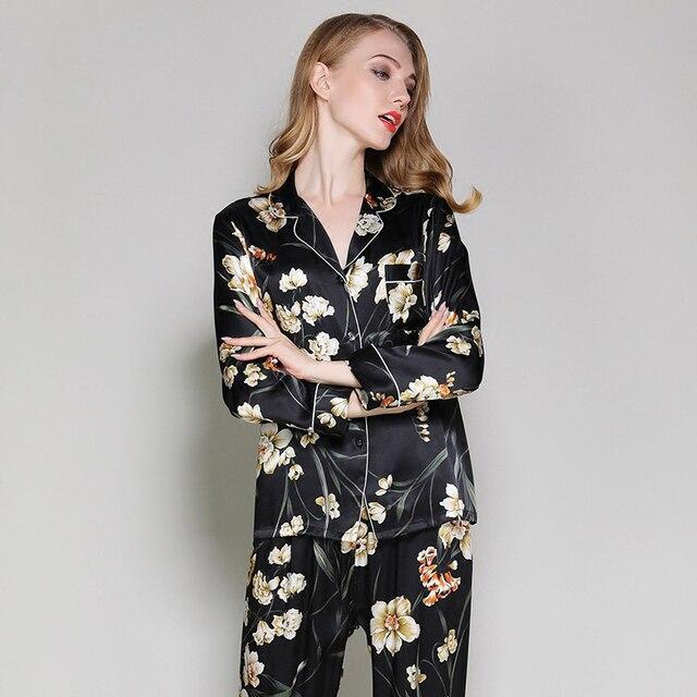 Mujer seda pijama noble de flores Pijamas otoño de 100 auténtico sexy moda negro de 70Ewxznq