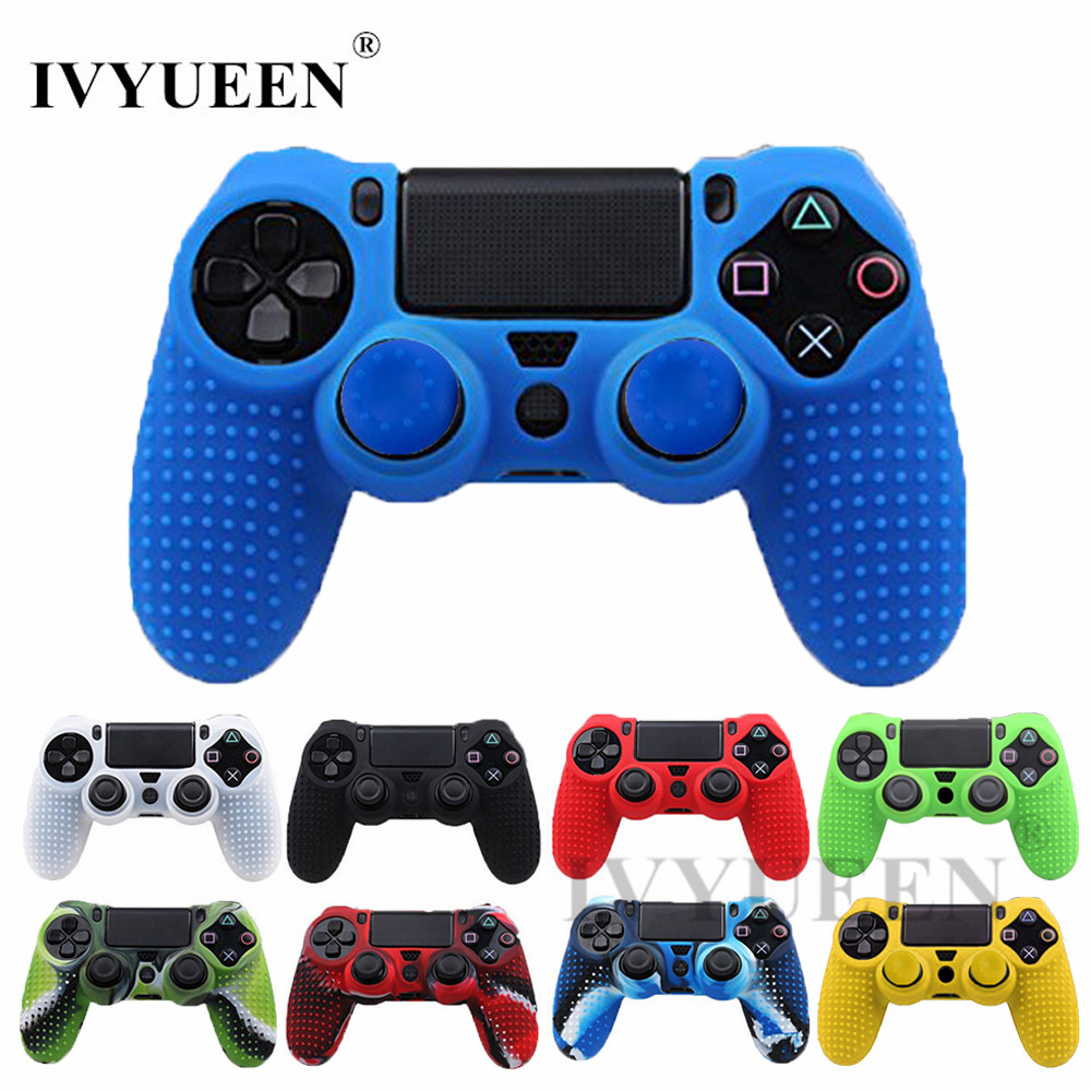 IVYUEEN Studded Anti-slip Silicone Cover Skin Case for Sony <font><b>PlayStation</b></font> Dualshock 4 PS4 Pro Slim Controller & Stick Grip