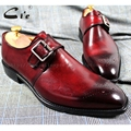 cie Square Toe Cut-outs Hand-Painted Deep Wine Single Monk Straps 100% Genuine Calf Leather Bottom Breathable Men's Shoe MS27