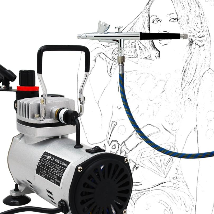Kualitas tinggi ABK-136 Airbrush Compressor Kit Seni Tubuh Lukisan - Riasan