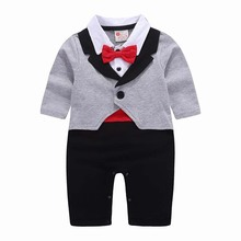 hot deal buy jxysy children's clothes set baby rompers spring&autumn rompers cotton baby boy long sleeve gentleman jumpsuit baby costume