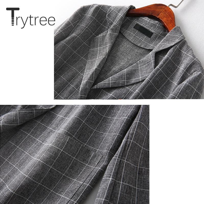 Trytree Spring Summer Women Two Piece Set Office Tops + Shorts Plaid Top Female Suit Set Casual Women's 2 Piece Plus Size Set