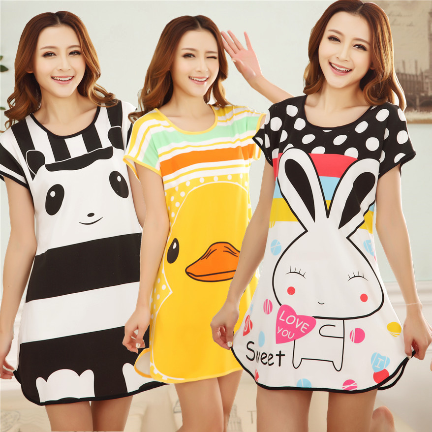 Wholesale 20 Style Free Shipping Summer Women Cartoon Sleepwear Leisure Short Sleeve Nightgowns Printing clothes Nightdress S6(China)