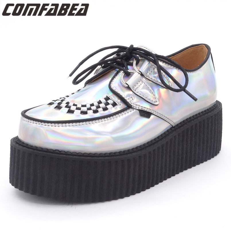 Spring Autumn 2019 Fashion Silver Laser Hologram Women Goth Punk High Platform Flat Creepers Shoes HARAJUKU Creeper Woman GirlsSpring Autumn 2019 Fashion Silver Laser Hologram Women Goth Punk High Platform Flat Creepers Shoes HARAJUKU Creeper Woman Girls