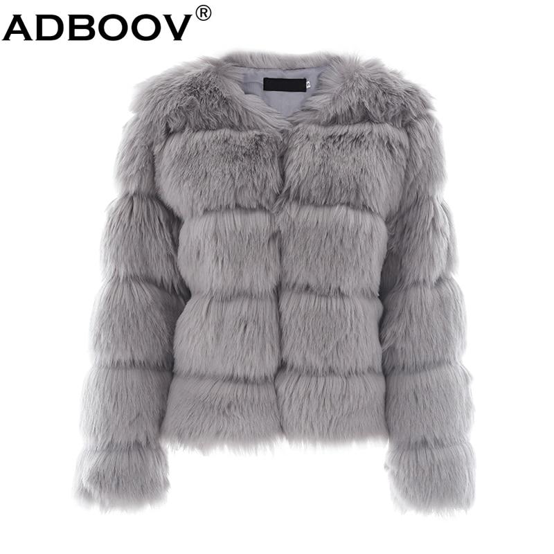 Las Adboov De Fluffy Piel Mujeres Peludo Corto Abrigo Vintage fOOXBgZq