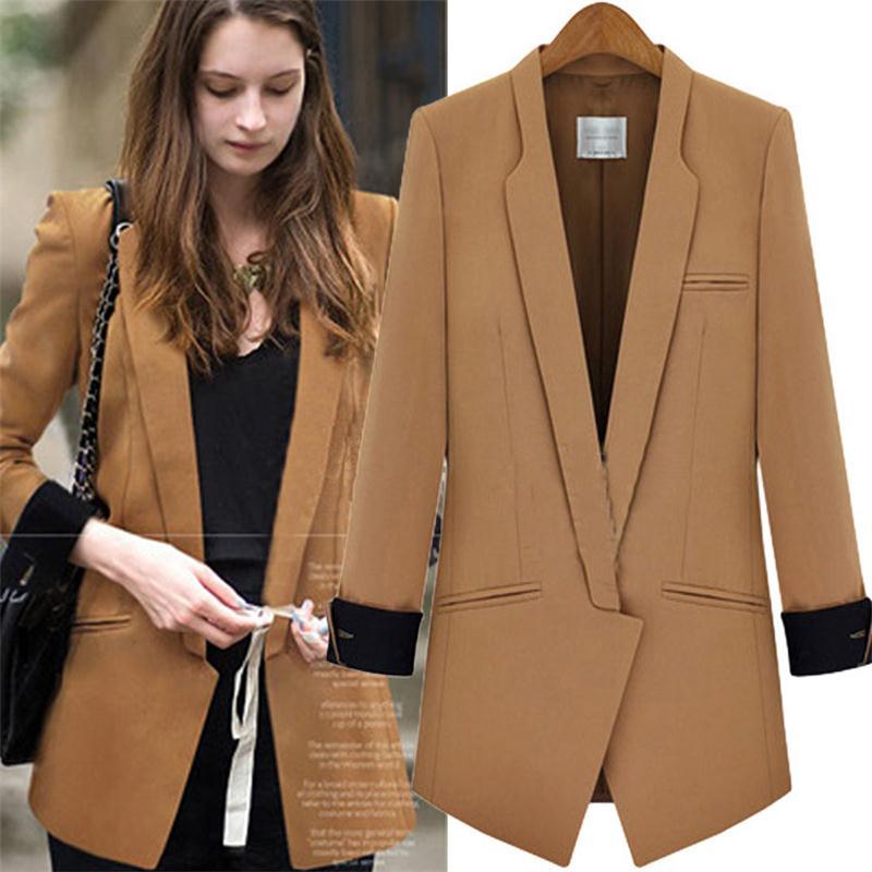 New 2015 European Street Fashion Slim Blazer Women OL Office Blazer Feminino Cardigan Female Jacket Pockets Size S-XL Plus Size