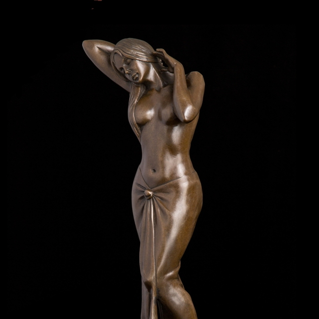 Arts Crafts Copper Modern Art Classical Marble Base Metal crafts Semi-nude  Belle Woman Figurine Beauty Lady Bronze Statue Interi