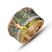 Multicolor Tree of Life Sculpture Rings Creative Full Blossoms Colors 16mm Wide Ring For woman Jewelry J02864
