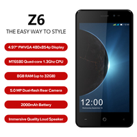 LEAGOO Z6 3G Smartphone 4.97 Inch Screen Android 6.0 MT6580M Quad Core 1.3GHz 1GB RAM 8GB ROM 2000mAh 5MP Dual SIM Mobile Phone