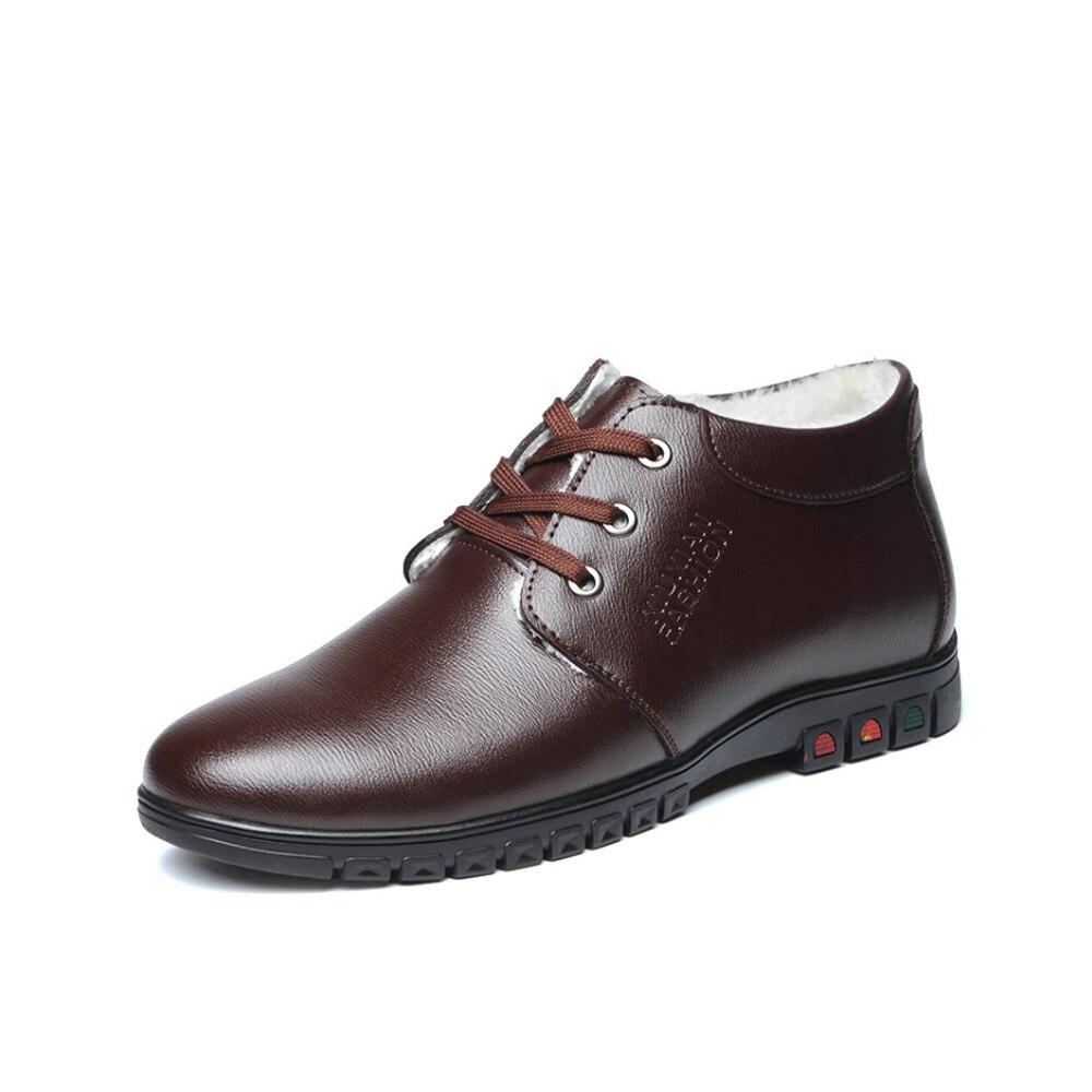 Casual Qualité Noir Avec Cuir Bottes Top marron Hiver Chaud Hommes En Imaxanna Chaussures Coton D'affaires gqE4yRc