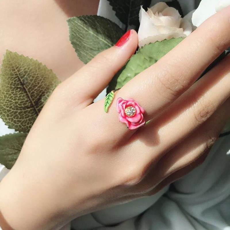 Amybaby Enamel Glaze Pink Flower Rosebud Necklace No Piercing Drop Earring Adjustable Ring Bracelet