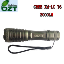 CREE XM-L T6 2000LM Cree Led Torch Zoomable Cree LED Flashlight Torch Light For 3xAAA or 1×18650 battery