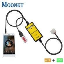Moonet автомобиля Mp3 плеер адаптер 3.5 мм AUX SD USB музыка Кабель-адаптер для Toyota 5 + 7 Yaris Camry Fortuner Avensis QX018