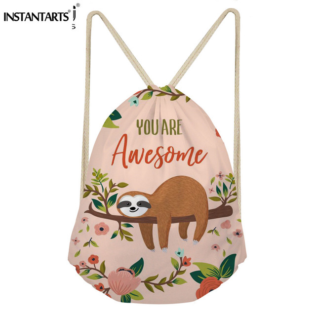 7d86bee61ef INSTANTARTS Sloth Print Folding Outdoor Sports Bag Swimming Hiking Travel  Beach Drawstring Backpack String Bags Gym Sack Pack