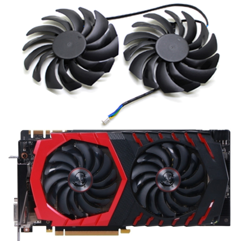 2PCS PLD10010B12HH DC12V 0.40A 4PIN FOR MSI GTX1080Ti 1080 1070 1060 <font><b>RX470</b></font> 480 570 580GAMING Graphics Card Cooler Fan image