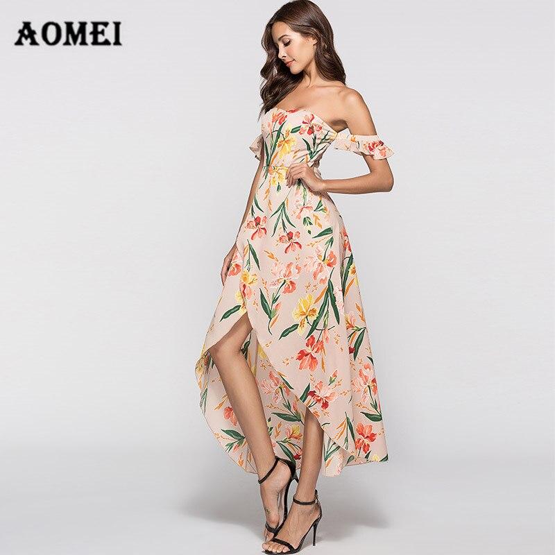 Dress Women Summer High Low Tropical Backless Floral Boho Vacation Sexy  Beachwear Wrap Slit Dresses Flower 826f90c9ebfd