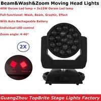 2X кофр Пакет Дополнительно 19x40 Вт RGBW 4IN1 перемещение головы мыть луч света 4-40 градусов зум 90-260 В с автоматическим rechageable Батарея