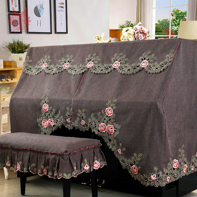 Hollow out floral embroidery coffee upright piano cover dust proof two seat stool cover hosse tabouret cache poussiere SP5312