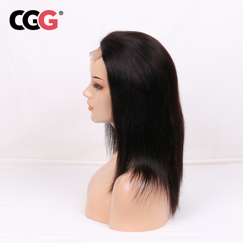 "CGG Straight 4*4 Lace Frontal Human Hair Wigs With Baby Hair For Black Women Malaysian Non-Remy Human Hair 8-22""  Natural Color"