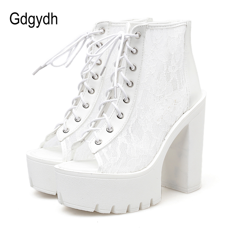 Gdgydh Summer Boots With Lace Peep Toe Footwear Woman Boots On Summer Mesh Rome Style 2019 Spring Ladies Shoes Drop Shipping Gdgydh Summer Boots With Lace Peep Toe Footwear Woman Boots On Summer Mesh Rome Style 2019 Spring Ladies Shoes Drop Shipping