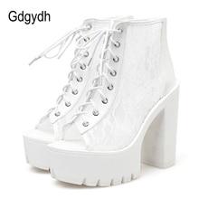 Gdgydh أحذية الصيف مع الدانتيل اللمحة تو الأحذية امرأة الأحذية على شبكة الصيف روما نمط 2020 الربيع السيدات أحذية انخفاض الشحن