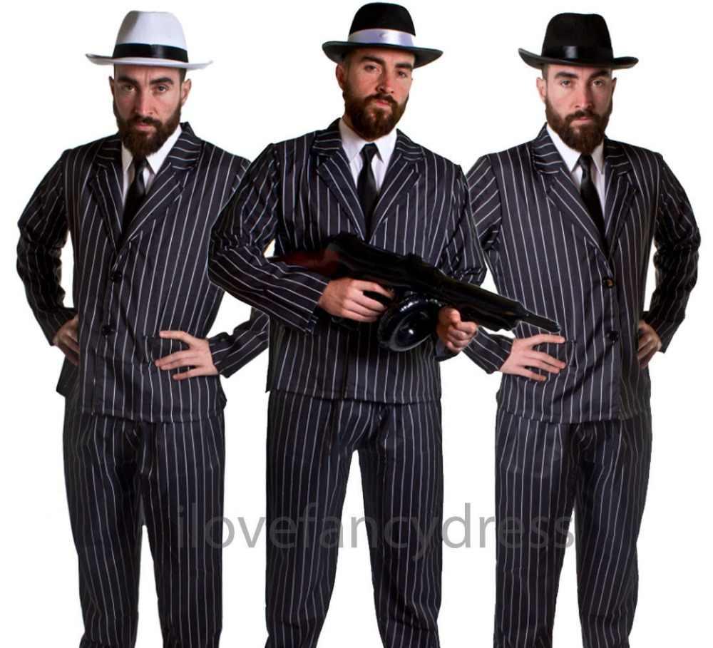 dff21839d87 MEN'S GANGSTER 5 PIECE COSTUME GREAT GATSBY 1920'S ADULT HAT BLACK ...
