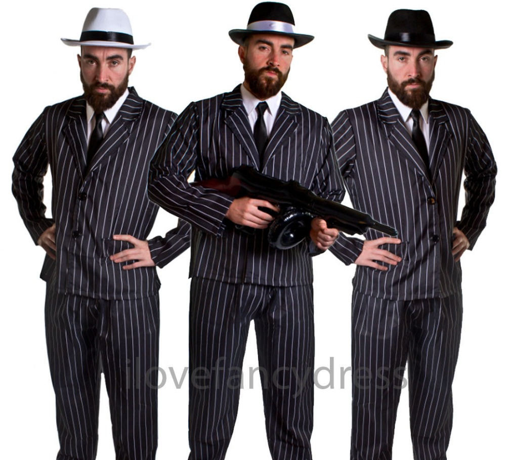 MEN'S GANGSTER 5 PIECE COSTUME GREAT GATSBY 1920'S ADULT HAT BLACK WHITE PINSTRIPE SUIT TIE FANCY DRESS MAFIA MOBSTER GODFATHER