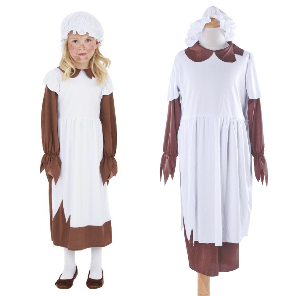 Kids Colonial Pilgrim Costume Poor Victorian Girl Fancy Dress Street Urchin Costume Oliver Twist Cook Maid Costume for Child