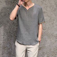 Traditional Chinese Clothing Top For Men Male Tangzhuang Clothes Tang Ethnic Shirts Men Costume Men Short Sleeve Shirts Clothes цена