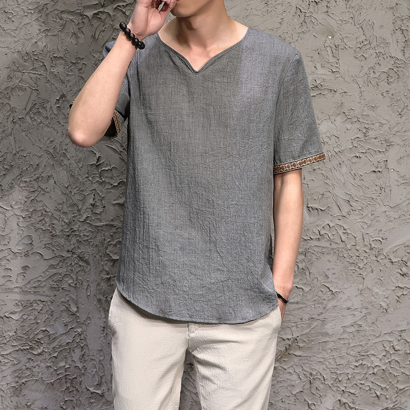Traditional Chinese Clothing Top For Men Male Tangzhuang Clothes Tang Ethnic Shirts Men Costume Men Short Sleeve Shirts Clothes