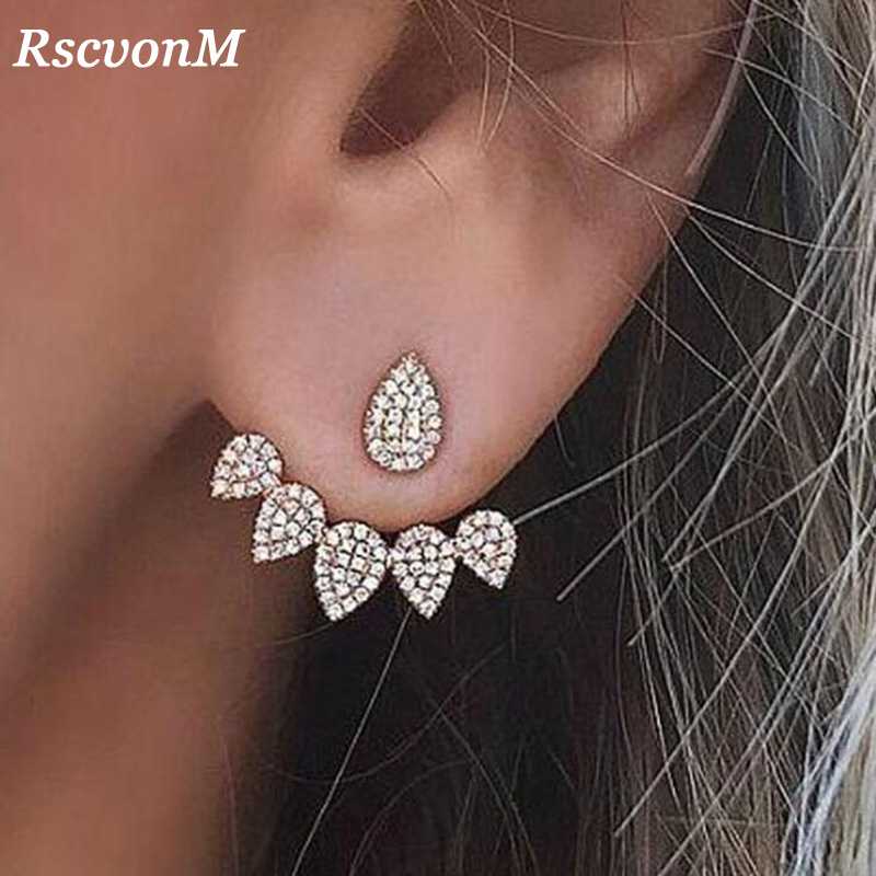 RscvonM New Jewelry Crystals Stud Earring for Women gold color Double Sided Fashion Jewelry Earrings female Ear brincos(China)