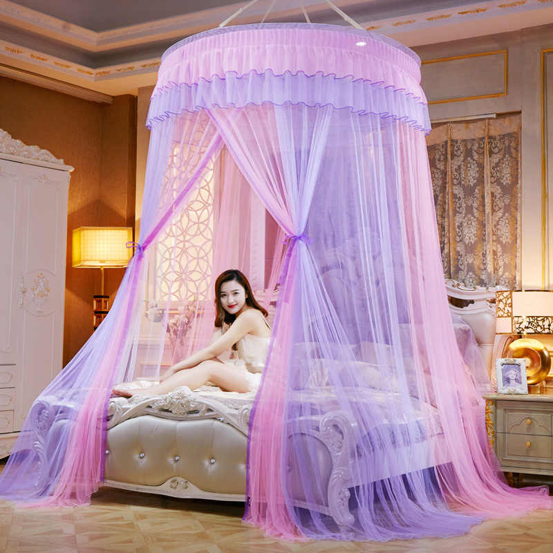 Colorful Hanging Mosquito Net Summer Hung Dome Tent Mesh For Princess Bed Round Home Textile Bed Canopy Bed Curtain moustiquaire