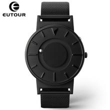 Innovar Eutour 2017 Hombres De Lujo Top Brand Conciso Bola Del Deporte de Pulsera de Moda Relojes de Cuarzo Correa de Acero Inoxidable Magnético