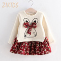 Patchwork Small Floral Baby Girl Clothes Lovely Long Sleeve Girls Dress Rabbit Pattern Plus Velvet Kids Clothing 2017 Fashion