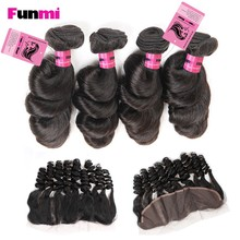 Funmi Ear to Ear 13x4 inch Lace Frontal Closure with 3 Bundles Brazilian Loose Wave Virgin Hair Human Hair Bundles with Frontal(China)